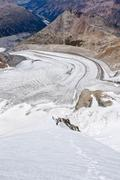 view over pers glacier, during the ascent of piz palue mountain along the nor - stock photo
