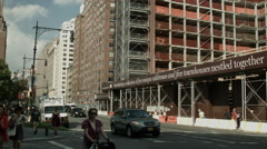New Construction on 7th Avenue in Manhattan Stock Footage