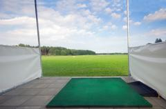 professional golf field, training area. - stock photo