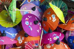 Handmade colourful paper umbrellas, bo sang, chiang mai, northern thailand, t Stock Photos