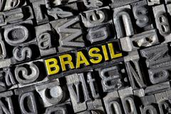 """Stock Photo of old lead letters, lettering """"brasil"""""""