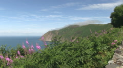 View from countisbury hill over lynmouth bay in north devon Stock Footage