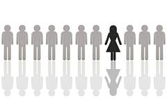 Row of grey male pictogram figures with a single black female figure, symboli Stock Photos