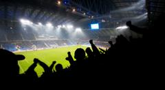 Silhouettes of fans celebrating a goal on football / soccer match Stock Photos