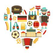 Germany travel heart set - stock illustration
