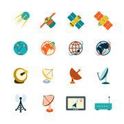 Satellite icons set Stock Illustration