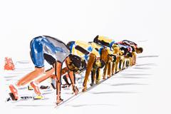 start of a race, track and field athletics, drawing by the artist gerhard kra - stock illustration