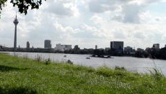 View on Duesseldorf city center Stock Footage