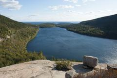 View from the rocks of bubble rock over jordan pond, acadia national park, ma Stock Photos