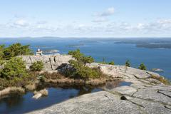 """granite rocks, marked hiking trail """"bear brook trail"""", view from the summit o - stock photo"""