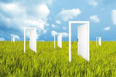 doors to the new world - stock illustration