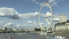 London Eye River Thames Stock Footage