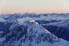 view from zugspitze mountain over hohe munde mountain, 2662m asl, in the miem - stock photo