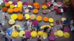 KR Flower Market in Bangalore, India Stock Footage