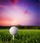 Golf ball on tee. green grass, sunset. Stock Photos