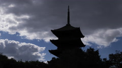 Clouds Over To-ji Pagoda in Kyoto Time Lapse Stock Footage