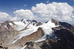 view ascending finailspitz mountain in the schnalstal valley through tisental - stock photo