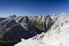 during the alpinisteig climbing route, overlooking einser mountain, with drei - stock photo
