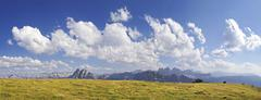 Panoramic view as seen from aferer alm alp on plosen mountain, with the afer  Stock Photos