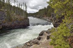 Brink of upper falls, grand canyon of the yellowstone river, north rim, yello Stock Photos