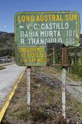 chilean street sign on the carretera austral, ruta ch7 road, panamerican high - stock photo