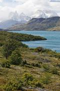 View of the cuernos del paine granite mountains, torres del paine national pa Stock Photos