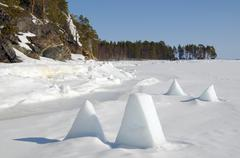 frozen white sea, kareliya, north russia, arctic - stock photo