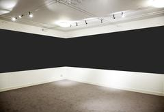 Art gallery. wide black horizontal panel. Stock Photos