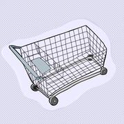 single shopping cart - stock illustration
