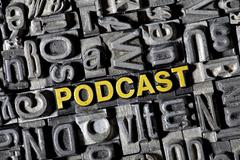 """old lead letters forming the word """"podcast"""" - stock photo"""