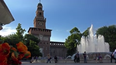 Italy, MIlan, Sforzesco castle and fountain nearby. Stock Footage