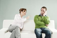 quarrelling couple - stock photo