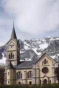 Protestant church in ramsau at the dachstein massif, upper styria, styria, au Stock Photos