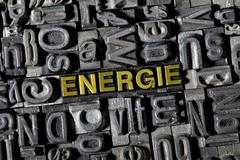"""Old lead letters forming the word """"energie"""", german for """"power"""" Stock Photos"""
