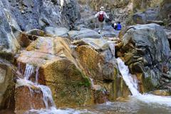 Hikers in the barranco de las angustias, ravine of anguish, la palma, canary  Stock Photos