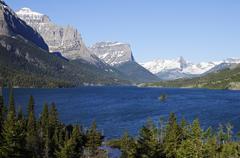 Saint mary's glacier lake, little chief mountain, fusillade mountain, glacier Stock Photos