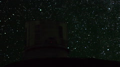 Astrophotography Time Lapse of Startrails at Observatory in Mauna Kea -Pan Right Stock Footage