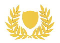 crest, victory's laurels, 3d illustration - stock illustration