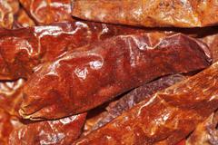 large chili peppers (capsicum), hot dried chilis, from indonesia - stock photo