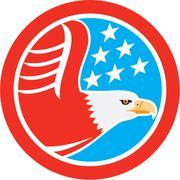 American bald eagle stars circle retro Stock Illustration