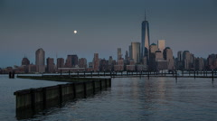One World Trade Center Super Moon Stock Footage