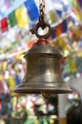 Hinduism, bell, colourful prayer flags, mahakal hindu temple, observatory hil Stock Photos