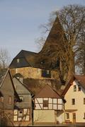 Protestant-lutheran fortified church of eckelhausen, biedenkopf, hinterland,  Stock Photos