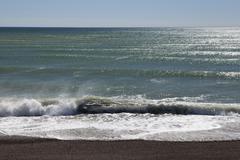 Waves on the atlantic coast of argentina, caleta olivia, santa cruz province, Stock Photos