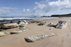 Stock Photo of white park bay or whitepark bay with white limestone rocks, antrim coast, cou