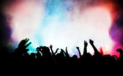People on music concert, disco party. Stock Photos