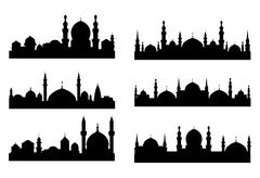 Stock Illustration of six black silhouettes of arabian cityscapes