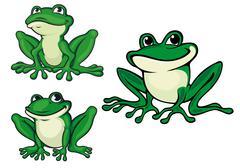 green cartoon frogs - stock illustration