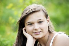 girl, 14 years, smiling, portrait - stock photo