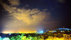 Astrophotography Time Lapse of Stars over City Lights at Dawn Stock Footage